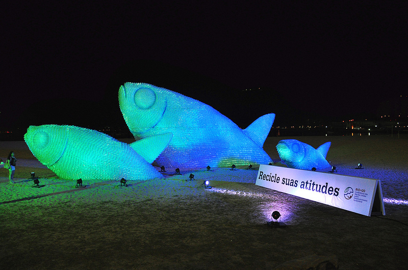 Giant Fish Sculptures Made From Discarded Plastic