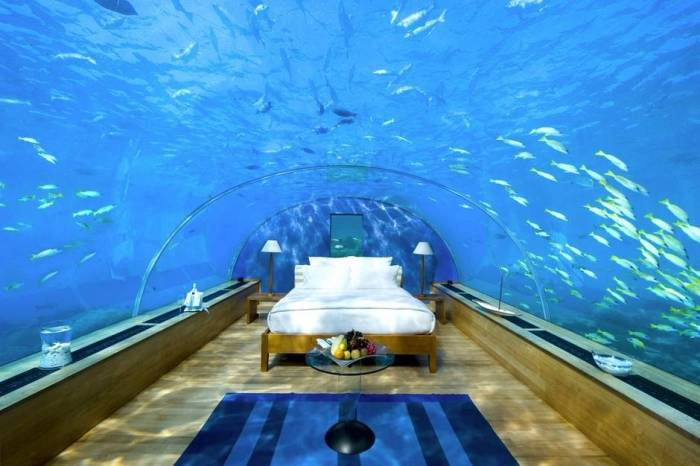 The Underwater bedroom in the Maldives