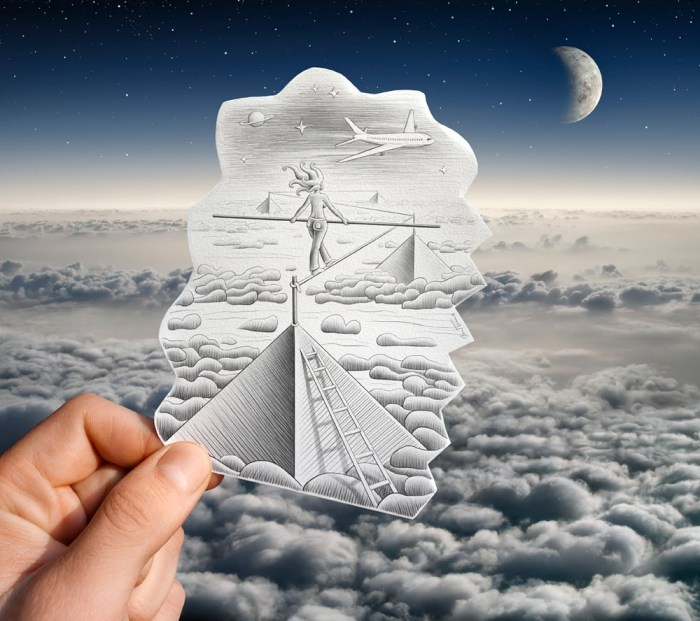 Ben Heine - Pencil Vs Camera 52 - Drawing vs Photography - Clouds - Moon - Freedom