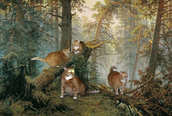 This is What Happens When You Photoshop an Overweight Cat Into Art