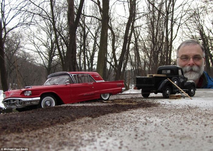 Illusion of 1950s Created Using Realistic Miniatures