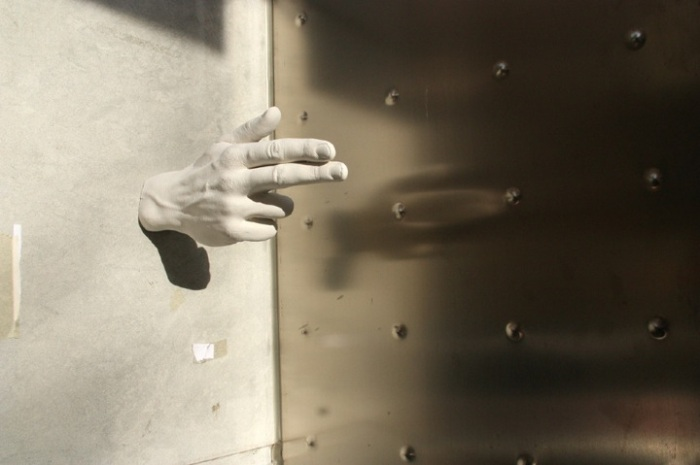 Plaster Hands as Thieves in the Streets of Barcelona