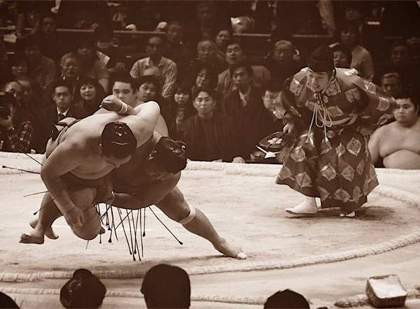 Enormous Sumo Wrestlers in the Moment of Collision